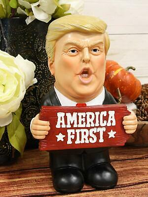 """Ebros President Donald Trump Holding 'America First' Sign Statue 9.25"""" Tall"""