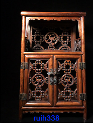 """30"""" Treasures Asia China old antique Rosewood Engraving Clothes closet"""