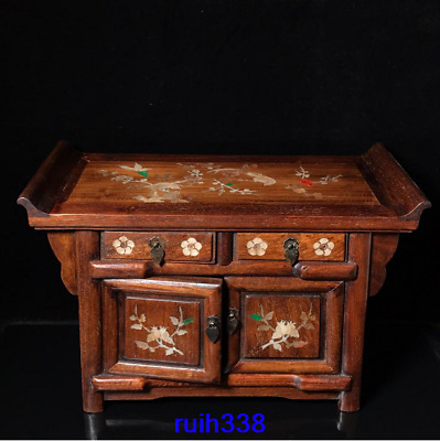 """16.8"""" China old antique Rosewood Mosaic shells Flower bird Small Cabinet table"""