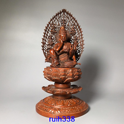"10.2"" Asia China old antique Boxwood carving Six arm Guanyin Buddha statue"
