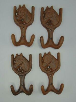 Lot of 4 Cast Iron Horse HorseShoe Double 2 Wall Hook Coat Rack Western Rustic