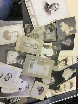 Nice Lot Of 17 Various Antique Cabinet Photos