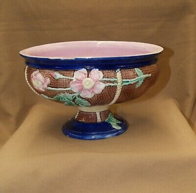 Antique MAJOLICA Floral Footed Bowl Blues Pinks Green Lovely