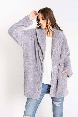PJ Salvage Women's Cozy Items Plush Button Up Lounge Cardigan - Heather Grey