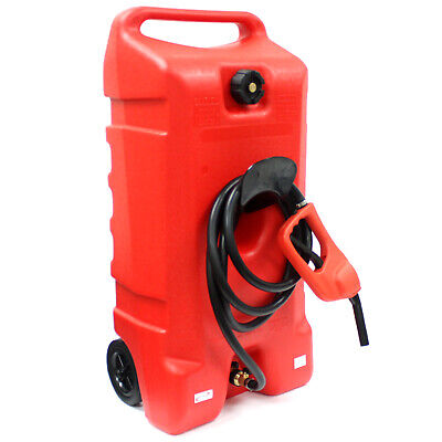 14 Gallon Gas Caddy Can Fluid Transfer w/ Hand Nozzle Pump & 10' Long Fuel Hose