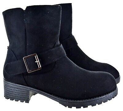 Womens Ladies Low Chunky Block Heel Chelsea Black Buckle Ankle Shoes Boots Size
