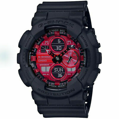 New Casio G-Shock Analog-Digital Black Resin Strap Mens Watch GA140AR-1A