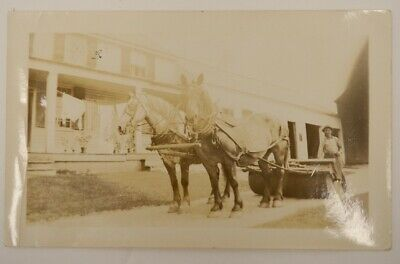 Draft Horse Drawn Farm Road Snow Roller Photo Snaphot Vtg Antique