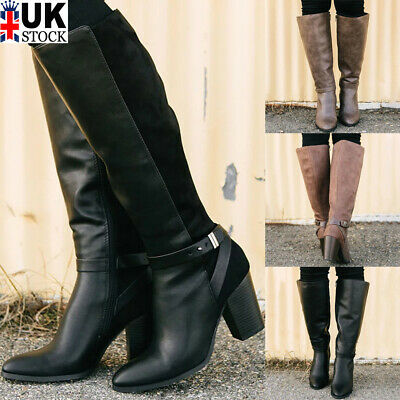 Women Knee High Boots Ladies Mid Calf Block Heel Boots Chunky Buckle Shoes Size