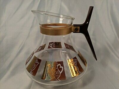 Mid-Century Modern Inland Glass Coffee Pot/Carafe No Lid Gold/Brown Decor 5 Cup