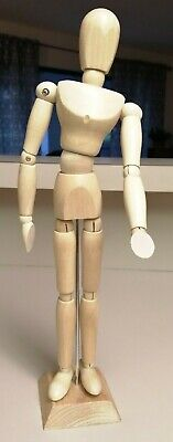 """Unisex 12"""" Wood Unisex Art Mannequin Wooden Sectioned Posable Human Figure Gift"""