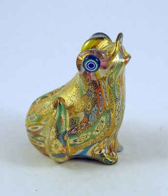 New Murano Millefiori Frog Figurine Italian Art Glass With Murano Italy Sticker