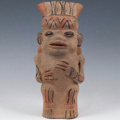 "Pre columbian Mayan style sitting figure, 9""tall, reproduction"