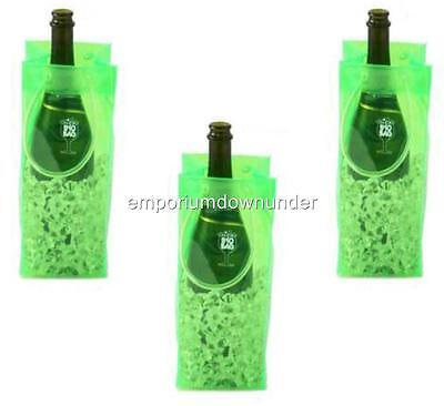 BYO Ice Chiller Bag Green x3 Beer Wine Drink Bottle Champagne Carry Christmas