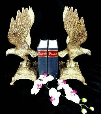 French Antique Empire Pair Eagle Birds Bookends Bronze Brass Statue Sculpture