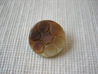"Vintage Small 5/8"" Carved 2 Tone MOP Mother Of Pearl Shell Button - PD93"