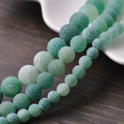 6/8/10mm Natural Round Lt Green Frosted Agate Stone Gemstone Loose Beads Lot DIY
