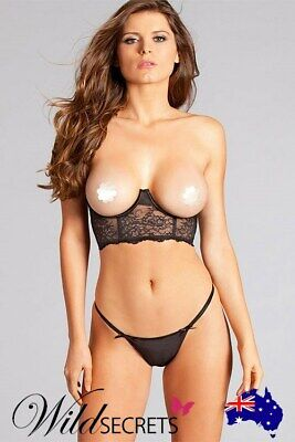 NEW Be Wicked Secret Diva Open-Cup Black Lace Bralette, Bra/Matching Set