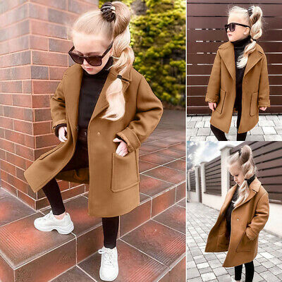 Toddler Baby Girls Long Sleeve Winter Woolen Windproof Coat Outwear Solid Jacket