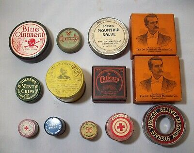 Lot of Twelve (12) Round Quack Medicine Tins, Great Assortment!