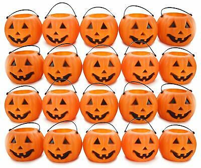 Halloween Pumpkins 24 Mini Jack-O-Lantern Orange Plastic Candy Holder Buckets