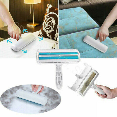 Furniture Self-cleaning 2-shape Pet Hair Remover Roller Lint Cleaning Brush