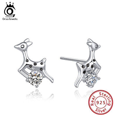 S925 Silver Stud Earrings Cubic Zirconia Cute Christmas Deer Shape Jewelry