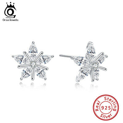 S925 Silver Stud Earrings Cubic Zirconia Cute Snowflake Design Christmas Jewelry