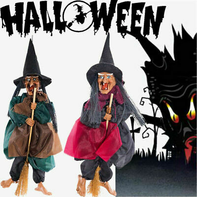 Halloween Hanging Animated Talking Witch Props Laughing Sound Control Decor USan