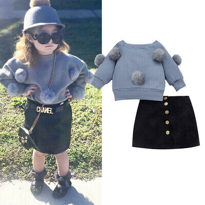 Fashion Toddler Kids Baby Girl Clothes Pom Pom Sweaters Top+Skirts Autumn Outfit