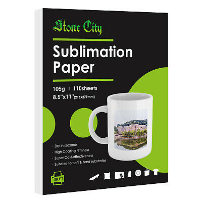 110 Sheets 8.5x11 Dye Sublimation Heat Transfer Paper Cotton Polyester Shirt Mug