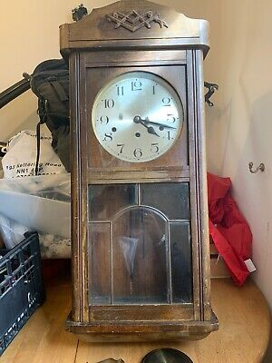 Large Antique Wall Clock Clearance Find With Key Etc