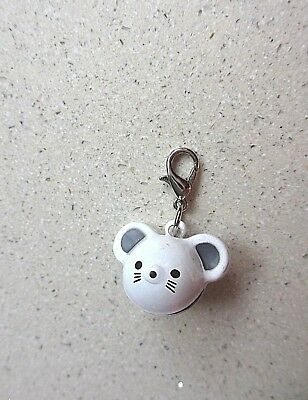 3D Clip on White Bell Charm clips to Cat Collar & deters Kitty catching birds