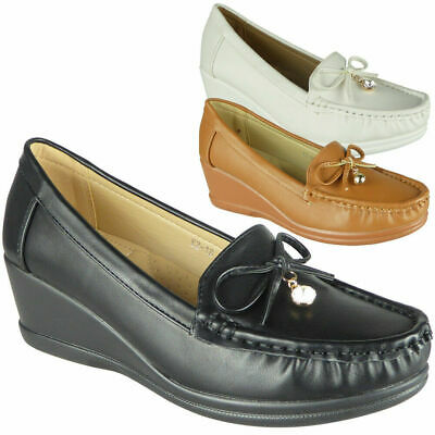 Womens Wedge Loafers Ladies Slip On Lightweight Comfy Office Work School Shoes