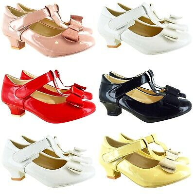 Girls Kids Childrens Low Block Heel Bow Wedding Bridesmaid Party Sandals Shoes