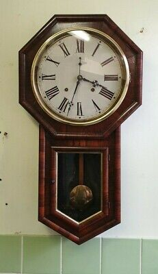 Vintage 8 Day Drop Dial Wall Clock with Strike