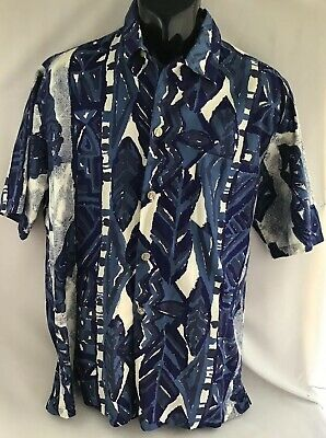 VINTAGE Andrade HAWAIIAN SHIRT Blue Size L Very Good Condition, Made In Hawaii