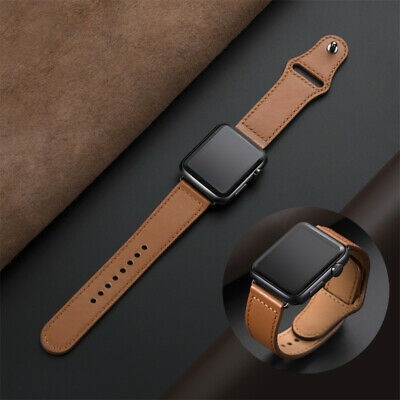 Genuine Leather Loop Watchband for iWatch 40/44mm 5/4/3/2/1 Bracelet Accessories