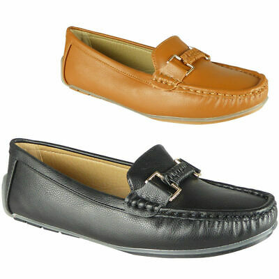 Womens Loafers Ladies Flat Lightweight Comfy Slip On Work Office School Shoes