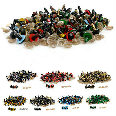 100 Pcs 8-20Mm Plastic Safety Eyes For Teddy Bear Doll Animal Puppet Craft Diy