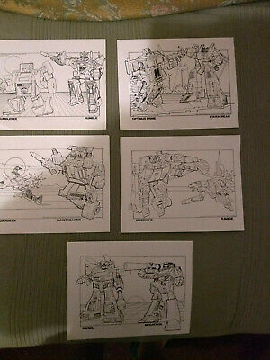 1984 Official Transformers colouring sheets Megatron Optimus Prime Bumblebee