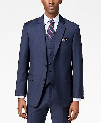 $475 Tommy Hilfiger 42r Men'S Blue Modern Fit Wool Blazer Solid Suit Coat Jacket