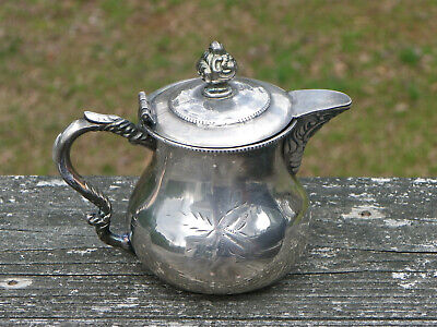 Antique Silverplate Covered Creamer-Raised Curved Design-Middletown-1864-1898