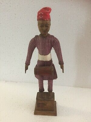 "Vintage Hand-Carved Wood Nepal Man Wooden Display Doll or Figurine 8-1/4"" Tall"