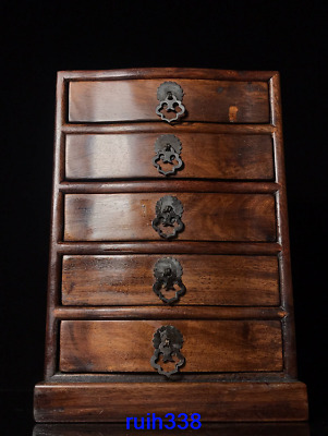 """11.8"""" Collection Asia Old China antique Rosewood Jewelry cabinet"""