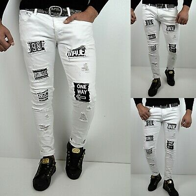 Young Mode destroyed Herren Style Skinny Fit Röhre Weiß Jeans Hose applikation