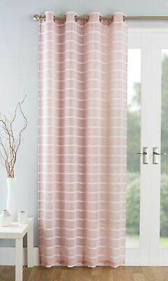 Blush Pink Textured Cream  Striped Eyelet Thick Linen Voile Net Curtain Panel