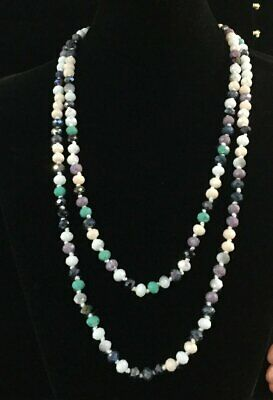 """60"""" Long Multi Color Aqua Ivory Facet Crystal 8mm Beaded Knotted Wrap Necklace"""