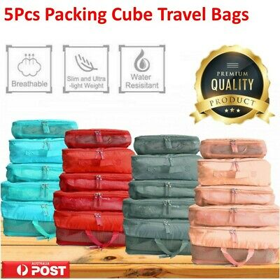 5Pcs Packing Cube Travel Pouch Luggage Organiser Clothes Suitcase Storage Bag AU