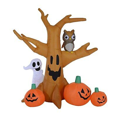 7.5'ft Tall Inflatable Halloween Haunted Tree Owl/Ghost/Pumpkins Light Up Decor
